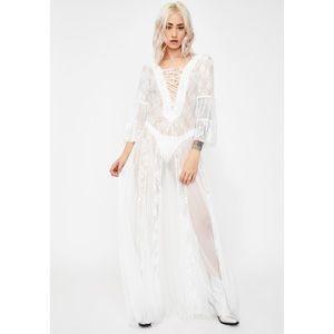 Kiki Riki See Thur Lace/Mesh Fit and Flare Dress